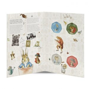 Image of interior of Beatrix Potter 2017 50p coin collector album.
