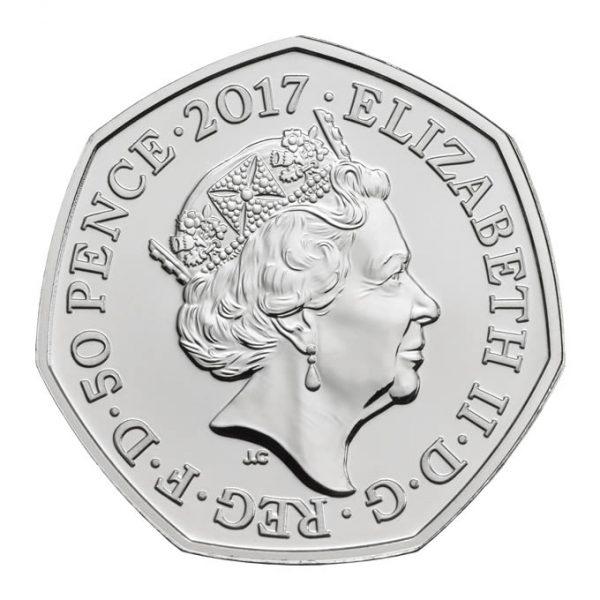 Obverse side of Benjamin Bunny 2017 UK 50p BU of HM Queen Elizabeth II