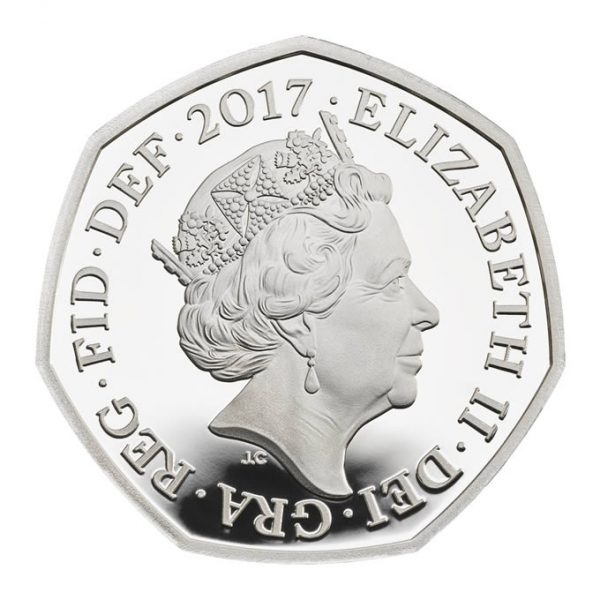Image of obverse side of Benjamin Bunny 2017 UK 50p silver proof coin featuring HM Queen Elizabeth II