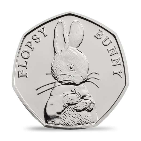 An image of a Flopsy Bunny 2018 UK 50p coin in Brilliant Uncirculated Finish