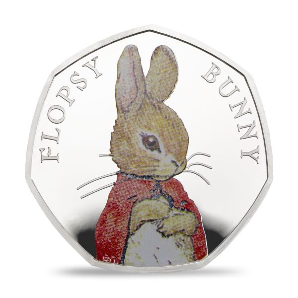 Image of Colour Printed Flopsy Bunny UK 50p Silver proof coin