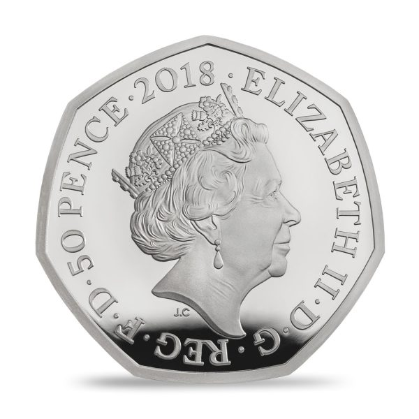 Image of obverse side of Flopsy Bunny UK 50p silver proof coin featuring HM Queen Elizabeth II