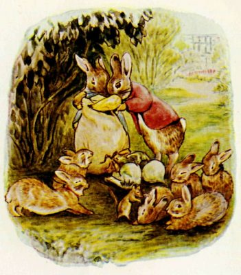 Illustration of Flopsy Bunny and family from The Tale of the Flopsy Bunnies