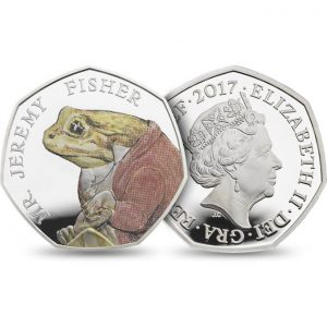 Image of the obverse and reverse side of the Jeremy Fisher 2017 UK 50p coin
