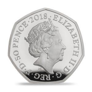 Mrs Tittlemouse 2018 UK 50p Silver ProofObverse Side HM Queen Elizabeth II