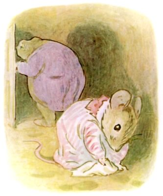 Illustration of Mrs. Tittlemouse and Mr. Jackson, from The Tale of Mrs. Tittlemouse