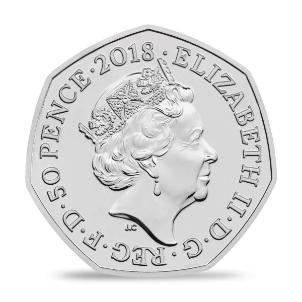 Image of obverse side of Mrs Tittlemouse coin featuring the fifth definitive portrait of Her Majesty Queen Elizabeth II