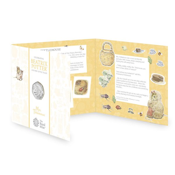 Image of fold-out packaging for Mrs Tittlemouse coin