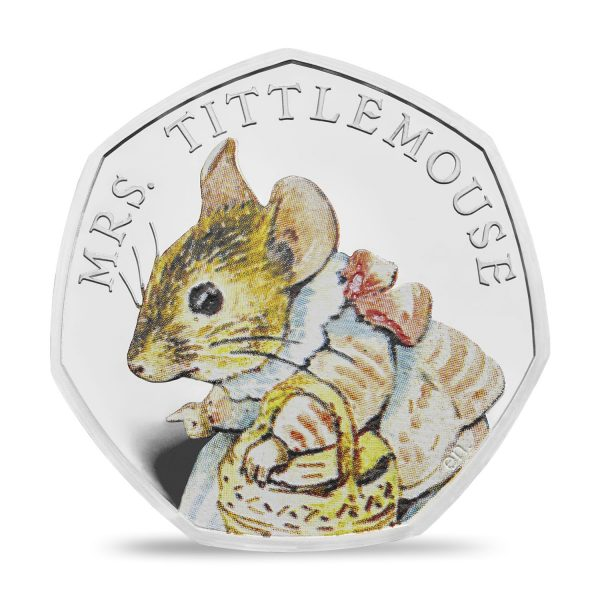 Image of Mrs Tittlemouse 2018 UK 50p Silver Proof coin in colour printing