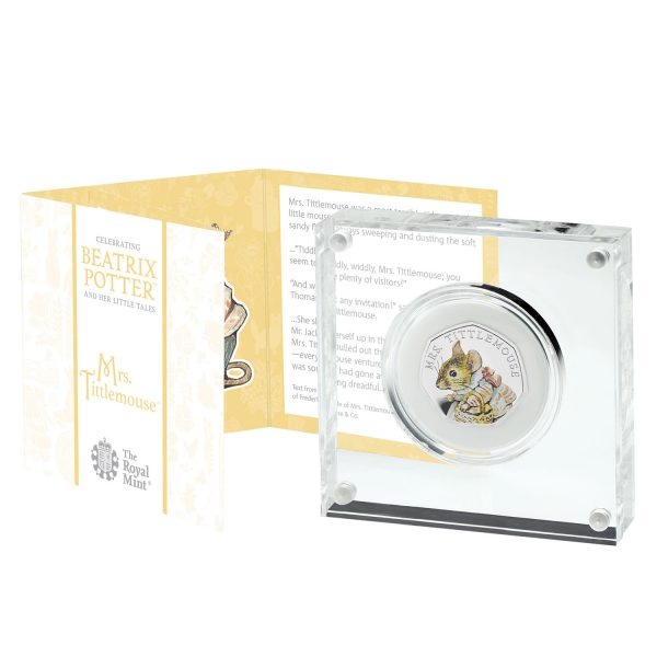 Image of the encased Mrs Tittlemouse coin with fold-out packaging