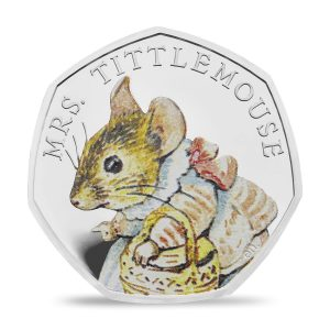 Image of Mrs Tittlemouse 2018 UK 50p coin in full colour printing
