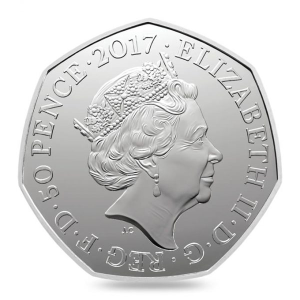 Image obverse side of Peter Rabbit coin featuring the fifth definitive portrait of HM Queen Elizabeth II
