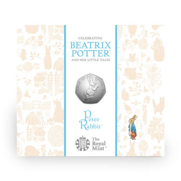 Image of cover of case for Peter Rabbit 2017 UK 50p coin