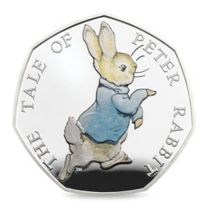 Image of Peter Rabbit 2017 UK 50p Silver Proof coin with colour printing