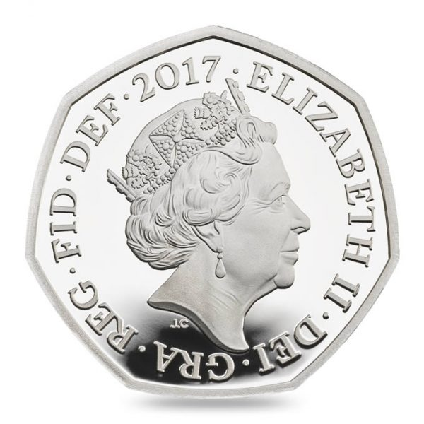 Image of obverse side of Peter Rabbit coin featuring the fifth definitive portrait of HM Queen Elizabeth II