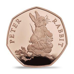 Image of gold Peter Rabbit 2018 UK 50p coin