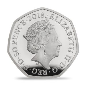 Image of the obverse side of the Tailor of Gloucester coin featuring the fifth definitive portrait of HM Queen Elizabeth II