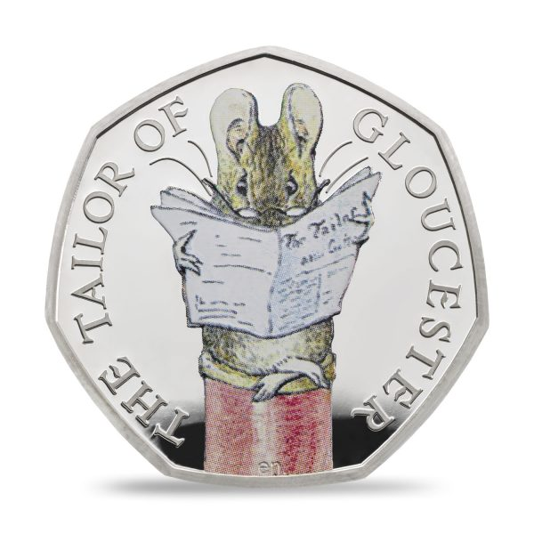 Image of Tailor of Gloucester 2018 UK 50p coin in colour printing