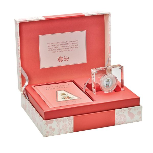 Image of gift box containing The Tailor of Gloucester 2018 UK 50p coin in silver proof and book