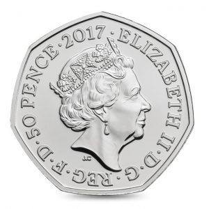 Image of obverse side of Tom Kitten coin featuring the fifth definitive portrait of HM Queen Elizabeth II