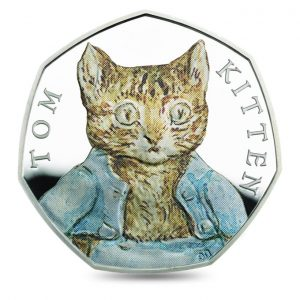 Image of Tom Kitten 2017 UK 50p coin with colour printing