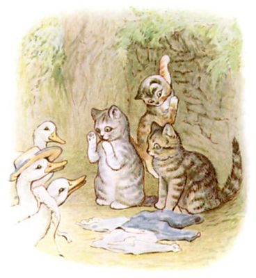 Beatrix Potter's Illustration of Tom Kitten, Moppet and Mittens with the Puddle-ducks
