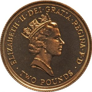 Image of obverse side of 1986 commonwealth UK 2 pound gold coin