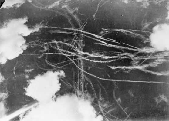 Pattern of condensation trails left by British and German aircraft after a dogfight during the Battle of Britain 1940