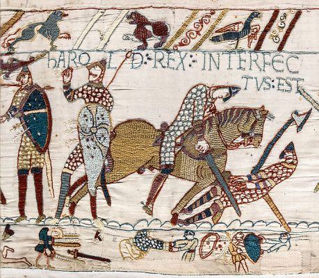 Scene of King Harold's Death in the Battle of Hastings on the Bayeux Tapestry