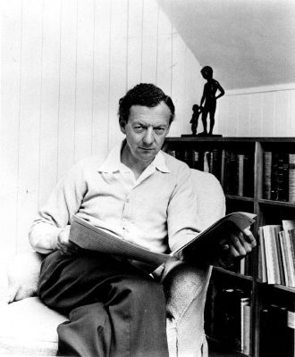 Black and white publicity photo of Benjamin Britten taken by Hans Wild for High Fidelity magazine