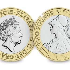 Image of reverse and obverse side of Britannia 2015 2 pound coin