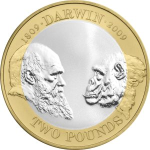 Image of Charles Darwin 2009 UK 2 pound coin