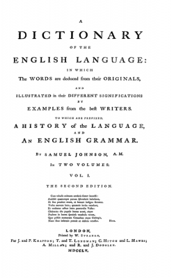 Title page from Johnson's Dictionary