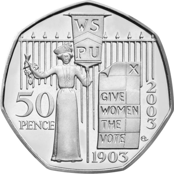 Image of the Give Women the Vote 2003 UK 50p coin