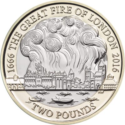 Image of Great Fire of London 2016 UK 2 pound coin