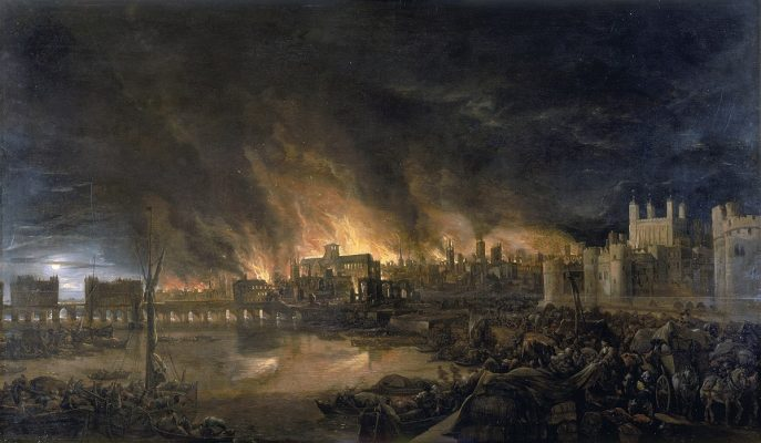 Painting of Great Fire of London