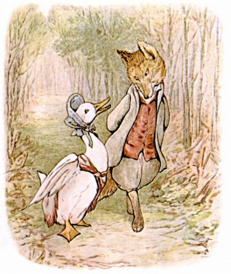 Illustration of Jemima Puddle-Duck confiding with the fox