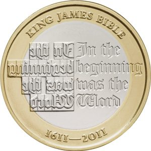 Image of King James Bible 2011 2 Pound coin