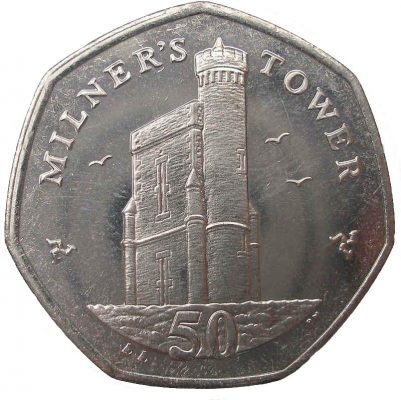 Image of Milner's Tower Isle of Man 2015 50p coin