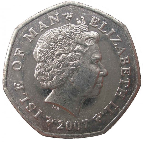 Image of the obverse side of Milner's Tower 50p featuring portrait of HM Elizabeth II
