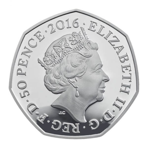 Image of obverse side of Mrs. Tiggy-Winkle 2016 50p coin featuring the fifth definitive portrait of HM Queen Elizabeth II
