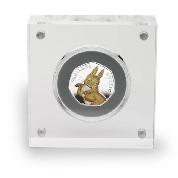 Image of Squirrel Nutkin 50p 2016 coin in acrylic case