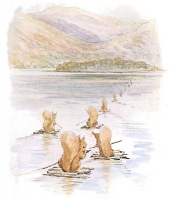 Beatrix Potter illustration of  More details The squirrels set sail on their rafts for Owl Island