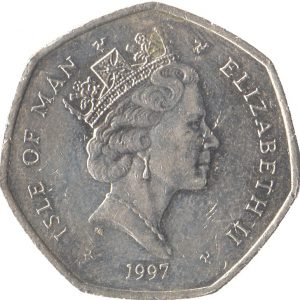 Image of obverse side of TT Motorcycle Race 50p coin featuring a portrait of HM Queen Elizabeth II