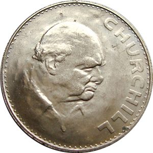 Image of reverse side of Winston Churchill 1965 UK Crown coin