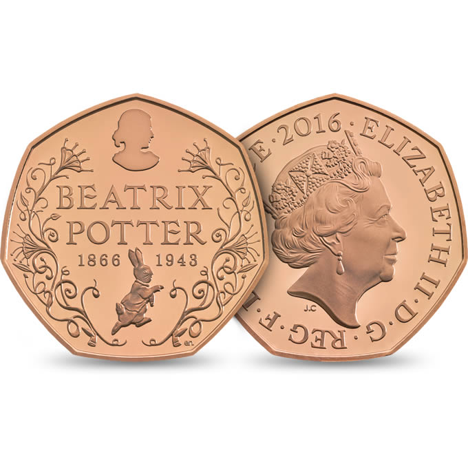 Image of gold 150th Anniversary Beatrix Potter UK 50p coin