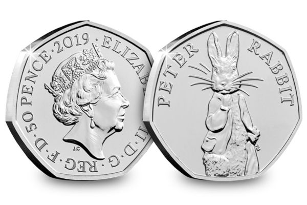 Image of both sides of the 2019 Peter Rabbit 50p coin