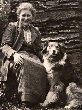 Sepia photo of Beatrix Potter with Kew her dog