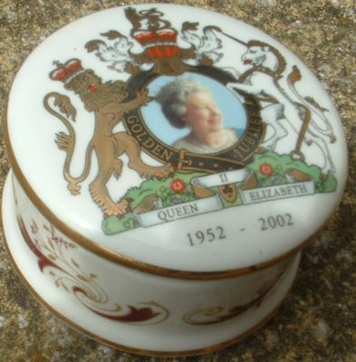 A trinket pot, sold as memorabilia merchandise for the Golden Jubilee