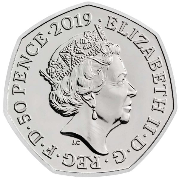 Image of obverse side of Gruffalo 50p featuring portrait of Queen Elizabeth II